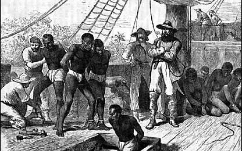 Africans arrive in Jamestown Settlement in August 1619.jpg